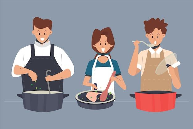Verschiedene leute, die lokalisiert auf blauem hintergrund kochen