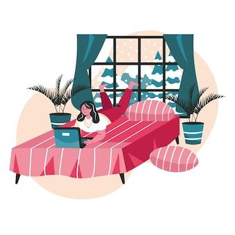 Verschiedene leute, die sich im gemütlichen schlafzimmerszenenkonzept entspannen. frau liegt mit laptop auf dem bett. freiberuflich, fernstudium, freizeitaktivitäten. vektor-illustration von charakteren im flachen design