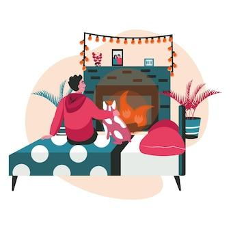 Verschiedene leute, die sich im gemütlichen schlafzimmerszenenkonzept entspannen. mann umarmt hund und sitzt auf dem bett vor dem kamin. aktivitäten für tiere und besitzer. vektor-illustration von charakteren im flachen design