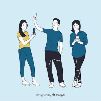 Verschiedene leute, die smartphones in der koreanischen zeichnungsart halten
