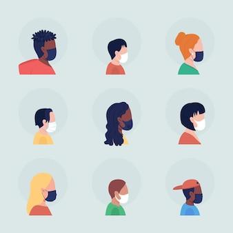 Verschiedene leute in der maske halbflacher farbvektor-charakteravatar mit maskensatz. portrait mit atemschutzmaske von der seite. isolierte moderne cartoon-stil illustration für grafikdesign und animationspaket