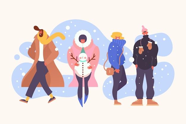 Verschiedene leute in winterkleidung