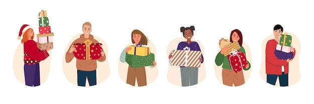 Verschiedene leute mit neujahrsgeschenken vektor-illustration zeichentrickfiguren, die sich auf weihnachten vorbereiten