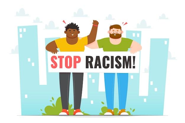 Verschiedene leute protestieren gegen rassismus
