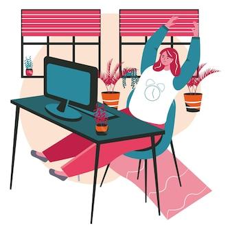 Verschiedene leute trainieren im konzept der arbeitsplatzszene. frau, die auf dem stuhl sitzt und arme und beine ausstreckt, aufwärmen. aktivitäten der büroangestellten. vektor-illustration von charakteren im flachen design