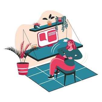 Verschiedene leute trainieren im konzept der arbeitsplatzszene. frau wärmt sich auf, dreht sich zur seite, sitzt auf einem stuhl am tisch. aktivitäten der büroangestellten. vektor-illustration von charakteren im flachen design
