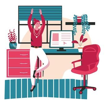Verschiedene leute trainieren im konzept der arbeitsplatzszene. frauentraining yoga in der pause, stehend in baumposition. aktivitäten der büroangestellten. vektor-illustration von charakteren im flachen design