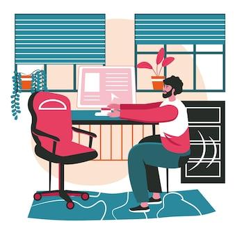 Verschiedene leute trainieren im konzept der arbeitsplatzszene. mann, der in der pause trainiert, die arme auf dem stuhl sitzend ausdehnt. aktivitäten der büroangestellten. vektor-illustration von charakteren im flachen design