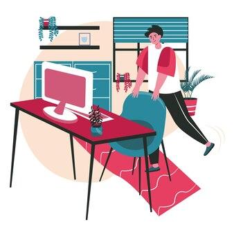 Verschiedene leute trainieren im konzept der arbeitsplatzszene. mann hebt und streckt die beine, die stuhl halten, trainingspause. aktivitäten der büroangestellten. vektor-illustration von charakteren im flachen design