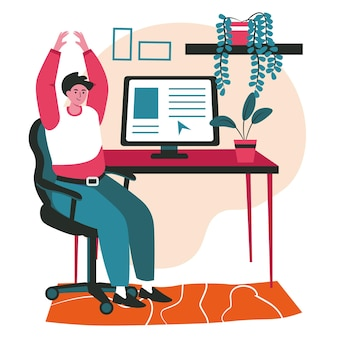 Verschiedene leute trainieren im konzept der arbeitsplatzszene. mann wärmt sich auf, arme erhoben, sitzt auf stuhl am arbeitstisch. aktivitäten der büroangestellten. vektor-illustration von charakteren im flachen design