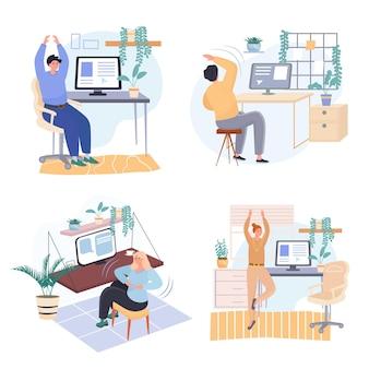 Verschiedene leute trainieren in arbeitsplatz-schlafzimmer-konzeptszenen, die vektorillustration von charakteren setzen