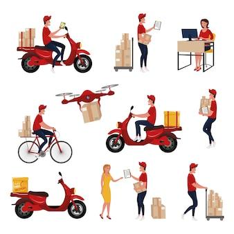 Verschiedene lieferservice-mitarbeiter und -kunden, die pakete liefern.