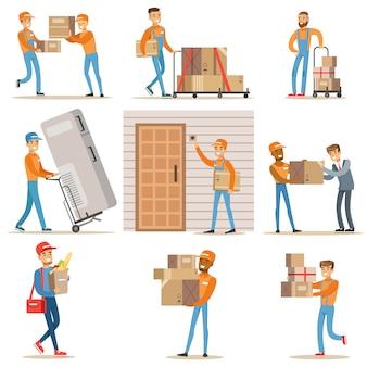 Verschiedene lieferservice-mitarbeiter und kunden, lächelnde kuriere, die lebensmittel und ausrüstung aus dem geschäft liefern, und postboten, die pakete mitbringen