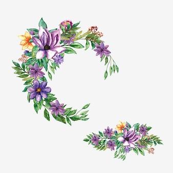 Verschiedene lila blumen runder rahmen für vorlage
