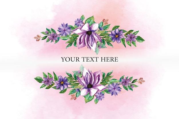 Verschiedene lila blumen und blätter mit aquarellhintergrund für vorlage