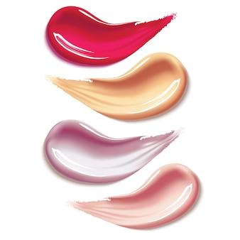 Verschiedene lippenstiftfleck-abstrichanschläge auf weiß