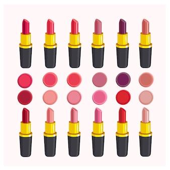 Verschiedene lippenstifttöne, lippenstift. abbildung auf weiß isoliert. satz lippenstift