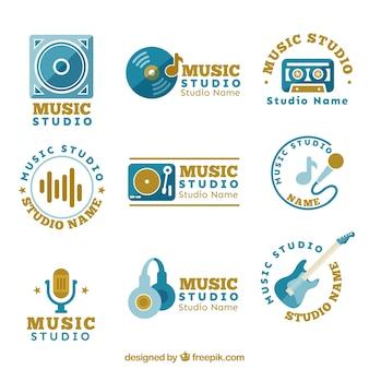 Verschiedene logos für ein musikstudio