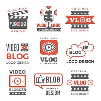 Verschiedene logos für fernsehsender und vlogger