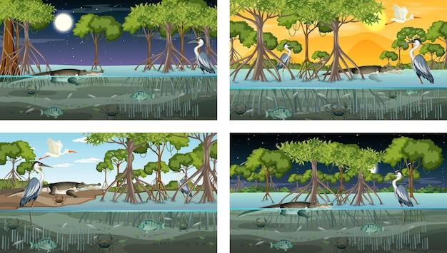Verschiedene mangrovenwaldlandschaftsszenen mit verschiedenen tieren