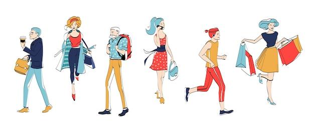 Verschiedene mann frau charakter spaziergang isoliert set. städtische leute rennen, reden über smartphone und kaufen ein