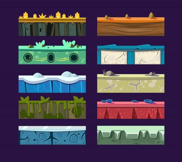 Verschiedene materialien und texturen für das spiel.