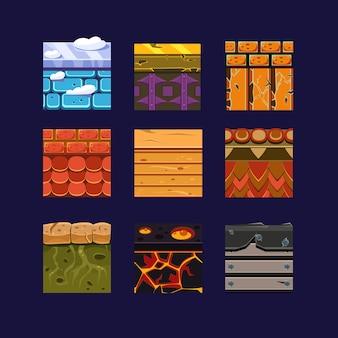 Verschiedene materialien und texturen für das spiel