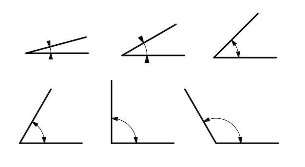 Verschiedene mathematische winkel isoliert auf weißem hintergrund. strichzeichnung.