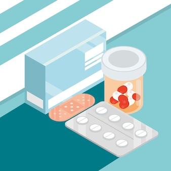 Verschiedene medikamente isometrisch