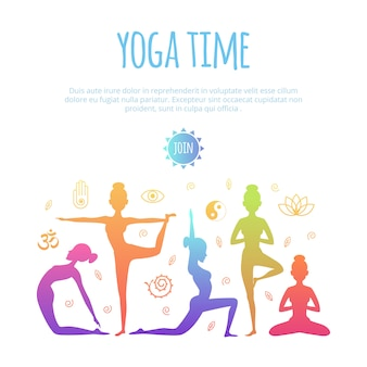 Verschiedene menschen, die yoga praktizieren