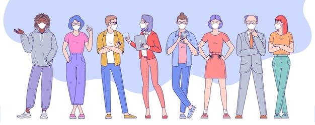 Verschiedene menschen, männer und frauen, die gesichtsschutzmasken tragen, um sich vor virusinfektionen, städtischer luftverschmutzung und smog zu schützen.