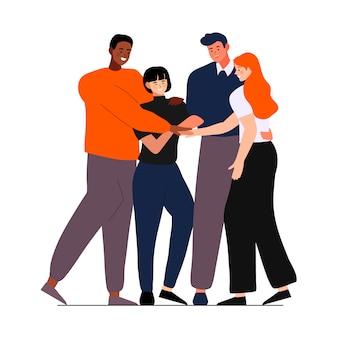Verschiedene menschen schließen sich zusammen und unterstützen die illustration