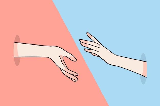 Verschiedene menschliche hände greifen nacheinander und versuchen, sich mit den fingern zu berühren, was einheit bedeutet