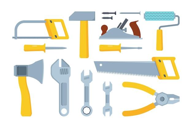 Verschiedene moderne bauwerkzeuge flach eingestellt. säge, hammer, zange. schraubenschlüssel sammlung. mechanisches instrumentensortiment.