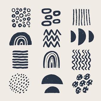 Verschiedene moderne organische formen und elemente im vintage-stil mit grunge-textur