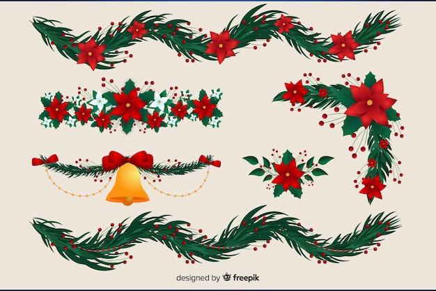 Verschiedene motive für weihnachtskranz
