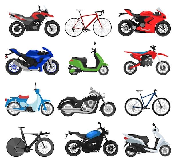 Verschiedene motorräder und fahrräder stellen flache abbildungen ein
