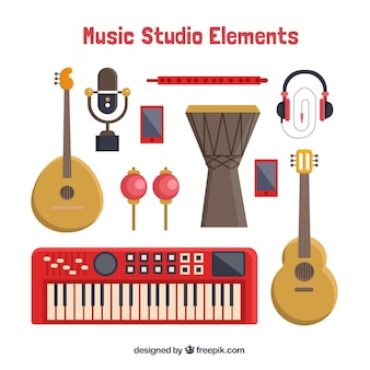 Verschiedene musikinstrumente in flaches design