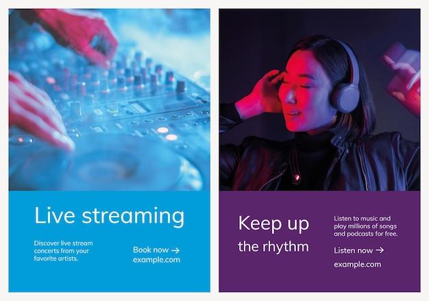 Verschiedene musikwerbevorlagen für postersets poster