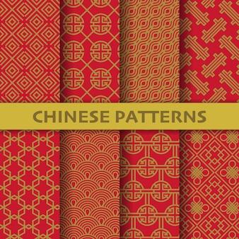 Verschiedene nahtlose muster des chinesischen, japanischen und asiatischen kulturvektors