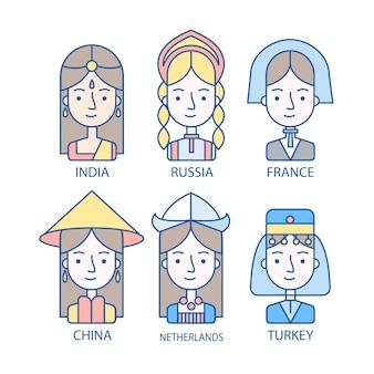 Verschiedene Nationalitäten Avatare