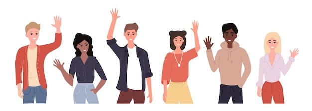 Verschiedene nationenvertreter winken mit der hand und sagen hallo.
