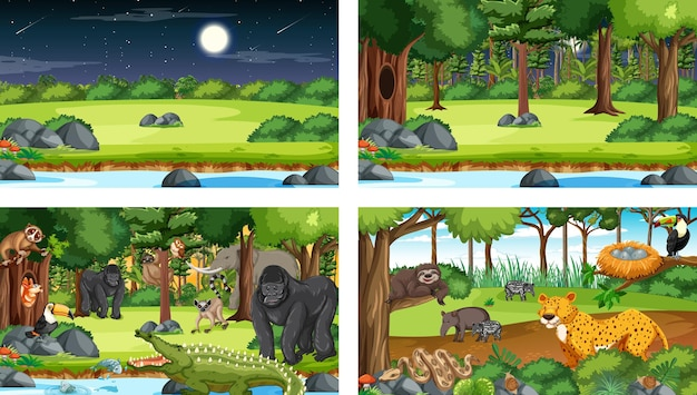 Verschiedene naturszenen von wald und regenwald mit wilden tieren