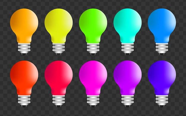 Verschiedene neue ideen - reihe von farbigen glühbirnen isoliert auf transparenter oberfläche