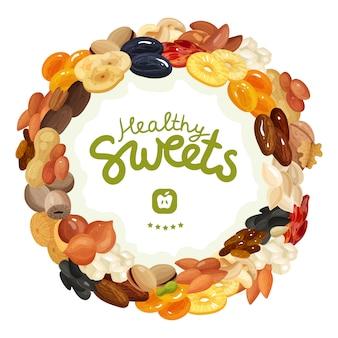 Verschiedene nüsse und getrocknete früchte