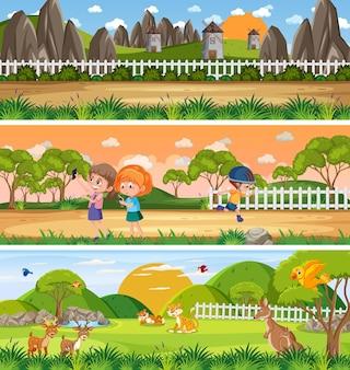 Verschiedene panoramische naturlandschaft mit zeichentrickfigur