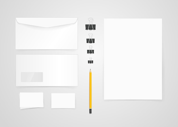 Verschiedene papierobjekte für das branding. vektormodell. identitätsvorlage