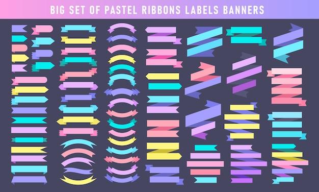 Verschiedene pastellfarbene bänder kennzeichnen bannersammlung. großer satz von bandaufkleberelementen.