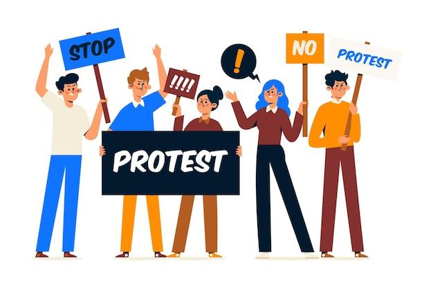 Verschiedene personen, die an einem protest teilnehmen