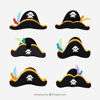 Verschiedene pirate hat zeichentrickfilm